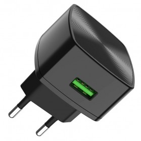 HOCO Cutting Edge Charger USB QC3.0 3A EU Plug - C70A - Black