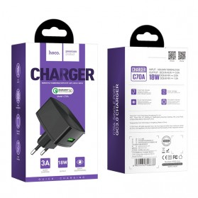 HOCO Cutting Edge Charger USB QC3.0 3A EU Plug - C70A - Black - 10