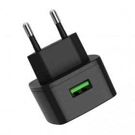 HOCO Cutting Edge Charger USB QC3.0 3A EU Plug - C70A - Black - 3
