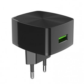 HOCO Cutting Edge Charger USB QC3.0 3A EU Plug - C70A - Black - 6
