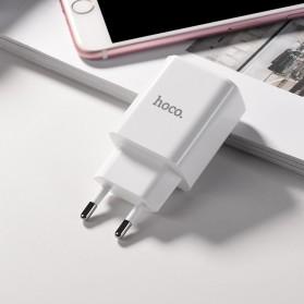 HOCO Victoria Charger USB 2 Port 2.1A LED Display EU Plug - C63A - White - 4