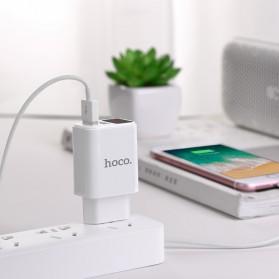 HOCO Victoria Charger USB 2 Port 2.1A LED Display EU Plug - C63A - White - 5