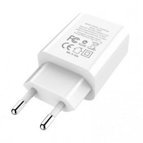 HOCO Victoria Charger USB 2 Port 2.1A LED Display EU Plug - C63A - White - 6