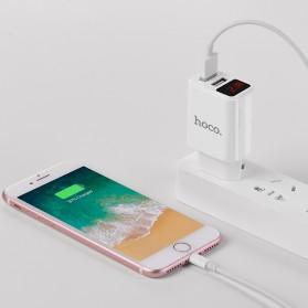 HOCO Victoria Charger USB 2 Port 2.1A LED Display EU Plug - C63A - White - 7