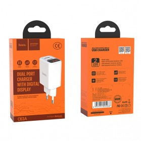 HOCO Victoria Charger USB 2 Port 2.1A LED Display EU Plug - C63A - White - 8