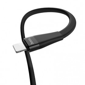 HOCO Kabel Charger USB Type C 2.4A 1.2 Meter with Voltage Meter - S4 - Black - 4