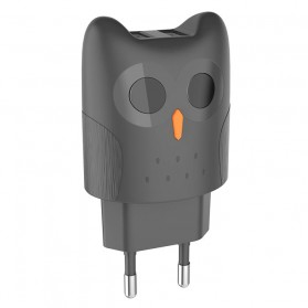 HOCO Kikibelief Charger USB 2 Port 2.1A EU Plug - KC1A - Gray