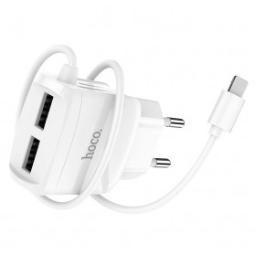 HOCO Charger USB 2 Port 2.1A EU Plug with Built-in USB Type C Cable - C59A - White