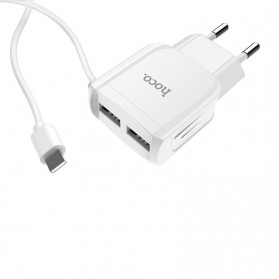 HOCO Charger USB 2 Port 2.1A EU Plug with Built-in USB Type C Cable - C59A - White - 2