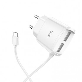 HOCO Charger USB 2 Port 2.1A EU Plug with Built-in USB Type C Cable - C59A - White - 3