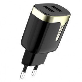 HOCO Charger USB 2 Port 2.1A EU Plug - C64A - Black
