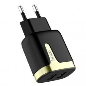 HOCO Charger USB 2 Port 2.1A EU Plug - C64A - Black - 2