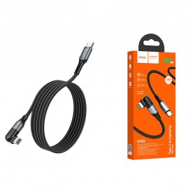 Hoco Orbit Kabel Charger Type C to Lightning Braided L Shape PD20W 1.2 Meter - U100 - Black