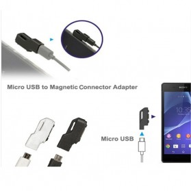 SZKOSTON Micro USB to Magnetic Charger Adapter for Sony Xperia Z3 /Z2 / Z1 / Z Ultra - L39H - Black - 3