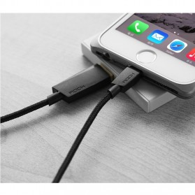 Rock Charge & Sync Round Lightning Cable for iPhone 5/6/7/8/X - Black - 2