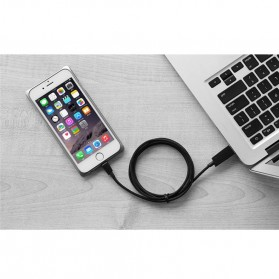 Rock Charge & Sync Round Lightning Cable for iPhone 5/6/7/8/X - Black - 5