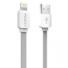 Rock Safe Lightning Charge Speed Data Cable for iPhone 5/6/7/8/X - White/Silver