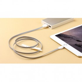 Rock Safe Lightning Charge Speed Data Cable for iPhone 5/6/7/8/X - White/Silver - 5