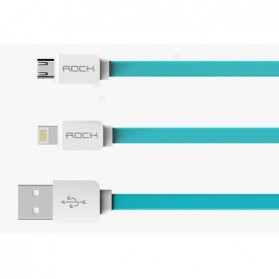 Rock Smart Safe 2 in 1 Charging Cable Lightning & Micro USB - White/Blue - 2