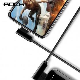 Rock Kabel Charger L Shape Nylon Braided Lightning 1 Meter - Black - 4