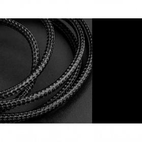Rock Kabel Charger L Shape Nylon Braided Lightning 1 Meter - Black - 8