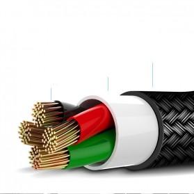 Rock Kabel Charger L Shape Nylon Braided Lightning 1 Meter - Black - 10