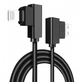 Rock Kabel Charger L Shape Nylon Braided Lightning 2 Meter - Black
