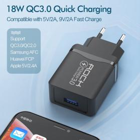 ROCK Charger USB 1 Port QC3.0 2.4A 18W EU Plug - LZ-023 - Black - 3