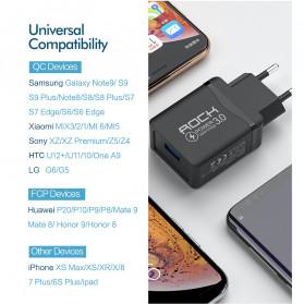 ROCK Charger USB 1 Port QC3.0 2.4A 18W EU Plug - LZ-023 - Black - 7