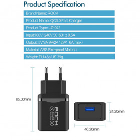ROCK Charger USB 1 Port QC3.0 2.4A 18W EU Plug - LZ-023 - Black - 9
