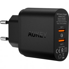 Aukey Charger USB 2 Port EU Plug 36W dengan QC 2.0 & AIPower - PA-T7 - Black