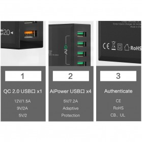Aukey Charger USB 5 Port EU Plug 54W with QC 2.0 & AiPower - PA-T1 - Black - 7