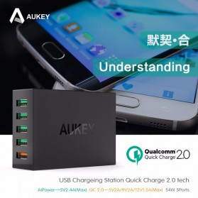 Aukey Charger USB 5 Port EU Plug 54W with QC 2.0 & AiPower - PA-T1 - Black - 8