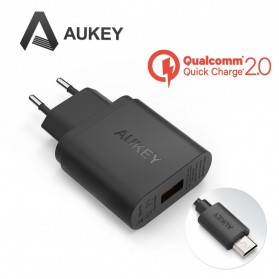 Aukey Charger USB 1 Port EU Plug 18W with QC 2.0 & AIPower - PA-U28 - Black - 1