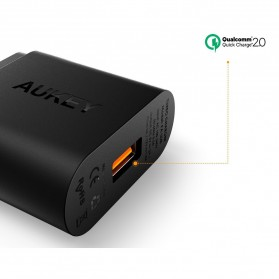 Aukey Charger USB 1 Port EU Plug 18W with QC 2.0 & AIPower - PA-U28 - Black - 6