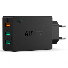Aukey Charger USB 3 Port EU Plug 42W with QC 2.0 & AiPower - PA-T2 - Black