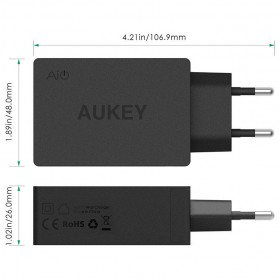 Aukey Charger USB 3 Port EU Plug 42W with QC 2.0 & AiPower - PA-T2 - Black - 4
