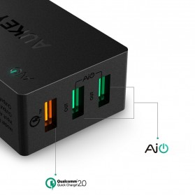 Aukey Charger USB 3 Port EU Plug 42W with QC 2.0 & AiPower - PA-T2 - Black - 5