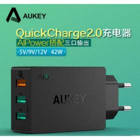 Aukey Charger USB 3 Port EU Plug 42W with QC 2.0 & AiPower - PA-T2 - Black - 11
