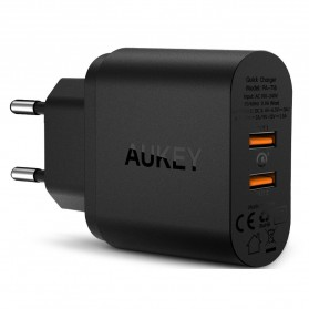 Aukey USB Wall Charger 2 Port EU Plug 36W with Qualcomm Quick Charge 3.0 - PA-T16 - Black