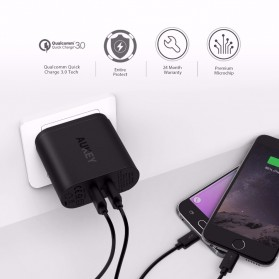 Aukey USB Wall Charger 2 Port EU Plug 36W with Qualcomm Quick Charge 3.0 - PA-T16 - Black - 4