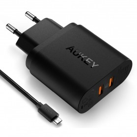 Aukey USB Wall Charger 2 Port EU Plug 36W with Qualcomm Quick Charge 3.0 - PA-T16 - Black - 8