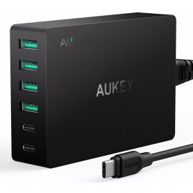 Aukey Charger USB 4 Port+2 Port Type C 60W QC3.0 & AiPower - PA-Y6 - Black