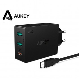 Aukey Charger USB 2 Port+1 Port Type C 2.4A QC3.0 & AiPower - PA-Y4 - Black