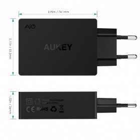 Aukey Charger USB 2 Port+1 Port Type C 2.4A QC3.0 & AiPower - PA-Y4 - Black - 5