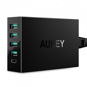 Aukey Charger USB 4 Port+1 Port Type C 54W QC3.0 & AiPower - PA-Y5 - Black - 1