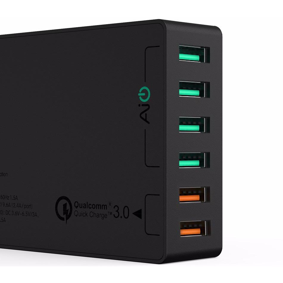 Aukey Charger Usb 6 Port 60w 24a Qc30 Aipower Pa T11 Black Baterai Desktop 1 Slot Rokok Elektrik Kipas Pb