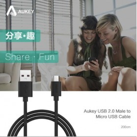 Aukey Kabel Charger Micro USB 2m - CB-D9 - Black - 4