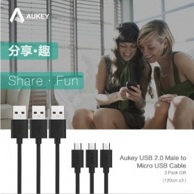 Aukey Kabel Charger Micro USB 1.2m 3PCS - CB-D10 - Black - 5