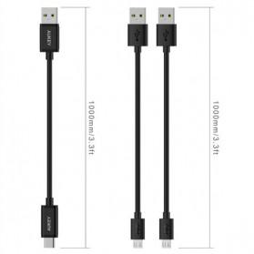 Aukey Kabel Charger USB Type C + Micro USB 1m 3 PCS - CB-TD1 - Black - 4